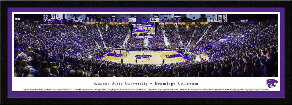"Kansas State Basketball Basketball Single Mat, Select Framed Panoramic Print 15.5"" L x 42"" W"