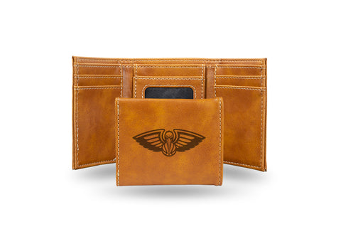 New Orleans Pelicans Laser Engraved Trifold Wallet