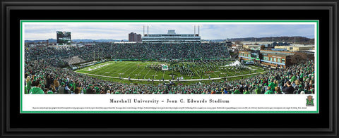 "Marshall University Football Double Mat, Deluxe Framed Panoramic Print 18"" L x 44"" W"