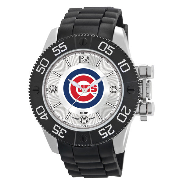 Chicago Cubs Mens Quartz Analog Watch With Silver Round Case Black Strap 48Mm Beast