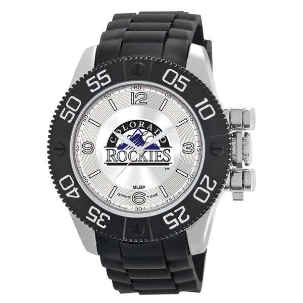 Colorado Rockies Mens Quartz Analog Watch With Silver Round Case Black Strap 48Mm Beast