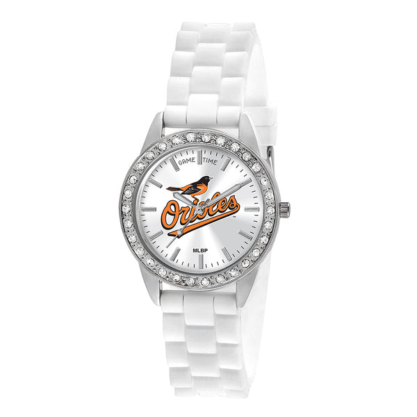 Baltimore Orioles Ladies Quartz Analog Watch With Silver Round Case White Strap 38Mm Frost