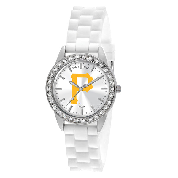 Pittsburgh Pirates P Logo Ladies Quartz Analog Watch With Silver Round Case White Strap 38Mm Frost