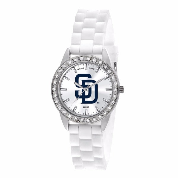 San Diego Padres Ladies Quartz Analog Watch With Silver Round Case White Strap 38Mm Frost