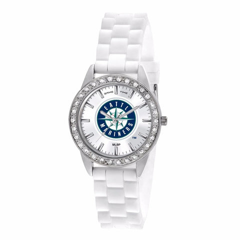 Seattle Mariners Ladies Quartz Analog Silver Round Case White Strap 38Mm Frost