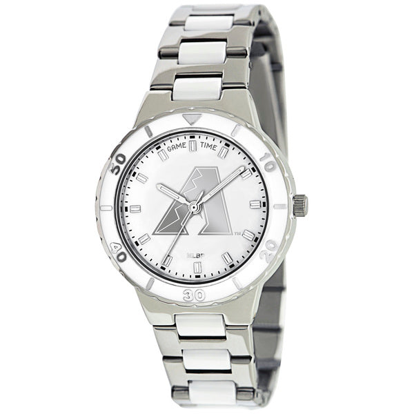 Arizona Diamondbacks Ladies Quartz Analog Watch With Silver Round Case Silver Bracelet 35.9Mm Pearl