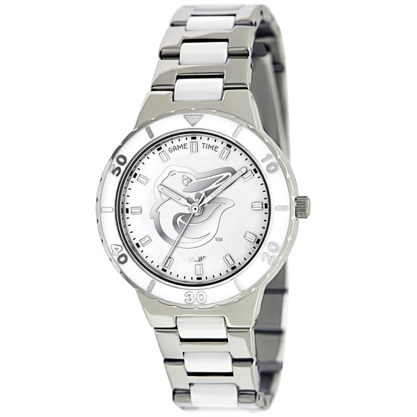 Baltimore Orioles Bird Ladies Quartz Analog Watch With Silver Round Case Silver Bracelet 35.9Mm Pearl