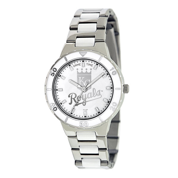 Kansas City Royals Ladies Quartz Analog Watch With Silver Round Case Silver Bracelet 35.9Mm Pearl