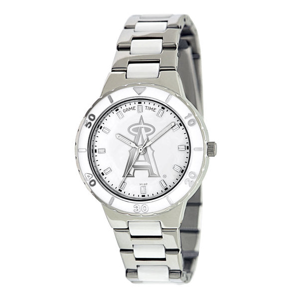 Los Angeles Angels Ladies Quartz Analog Watch With Silver Round Case Silver Bracelet 35.9Mm Pearl