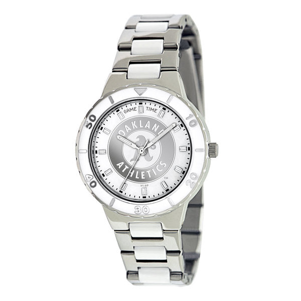 Oakland As Ladies Quartz Analog Watch With Silver Round Case Silver Bracelet 35.9Mm Pearl