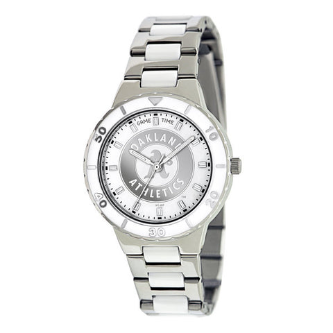 Oakland As Ladies Quartz Analog Silver Round Case Silver Bracelet 35.9Mm Pearl