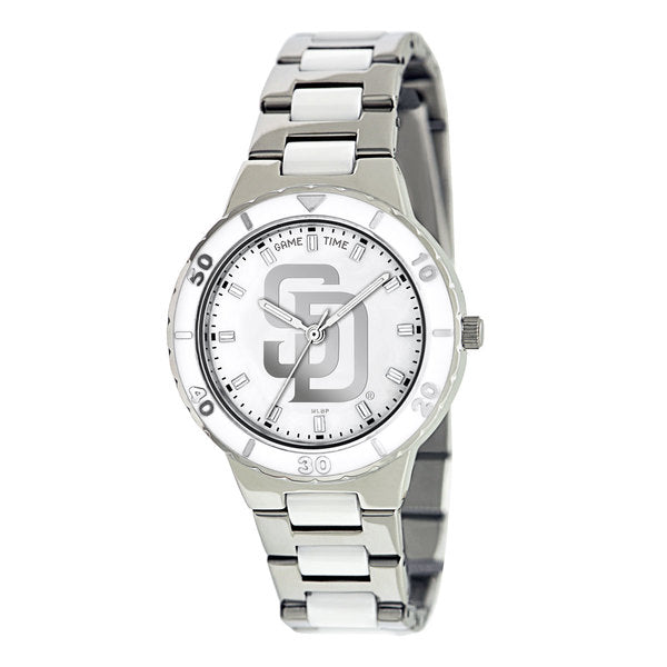 San Diego Padres Ladies Quartz Analog Watch With Silver Round Case Silver Bracelet 35.9Mm Pearl