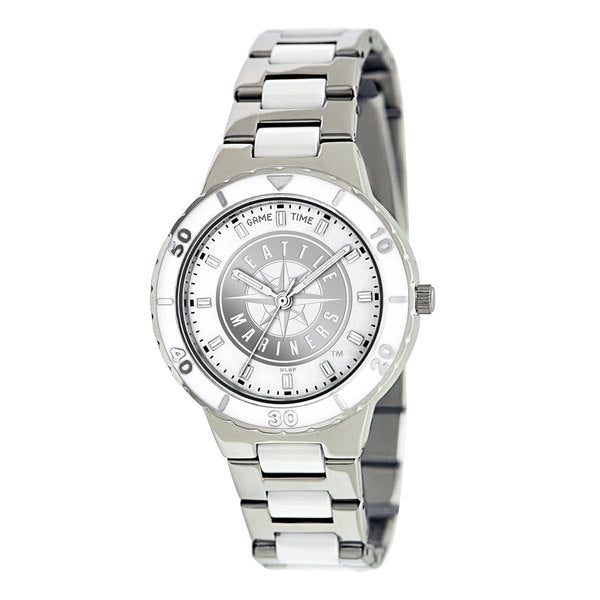 Seattle Mariners Ladies Quartz Analog Watch With Silver Round Case Silver Bracelet 35.9Mm Pearl