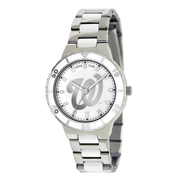 Washington Nationals Ladies Quartz Analog Watch With Silver Round Case Silver Bracelet 35.9Mm Pearl