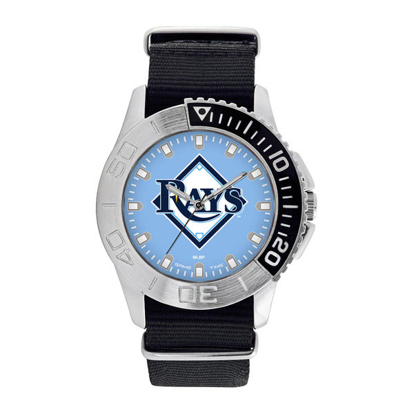 Tampa Bay Rays Mens Quartz Analog Watch With Silver Round Case Black Strap 42Mm Starter