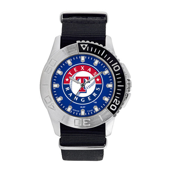 Texas Rangers Mens Quartz Analog Watch With Silver Round Case Black Strap 42Mm Starter