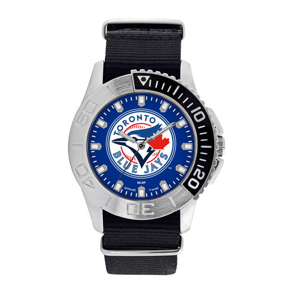 Toronto Blue Jays Mens Quartz Analog Watch With Silver Round Case Black Strap 42Mm Starter
