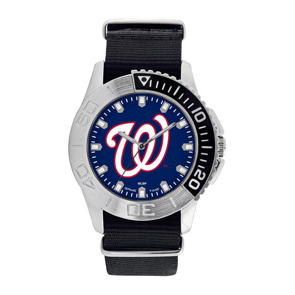 Washington Nationals Mens Quartz Analog Watch With Silver Round Case Black Strap 42Mm Starter