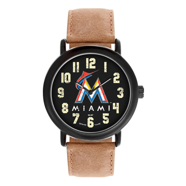 Miami Marlins Mens Quartz Analog Watch With Black Round Case Brown Dark Strap 47Mm Throwback