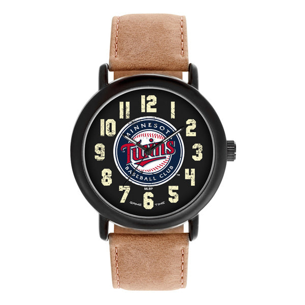 Minnesota Twins Mens Quartz Analog Watch With Black Round Case Brown Dark Strap 47Mm Throwback