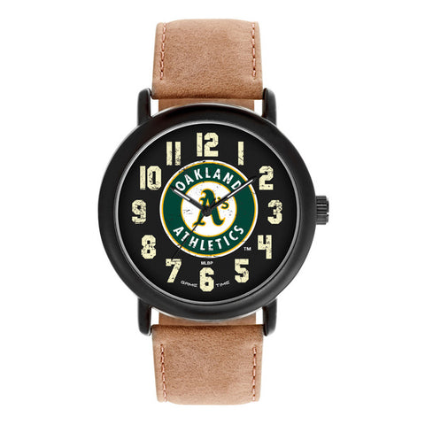 Oakland As Mens Quartz Analog Black Round Case Brown Dark Strap 47Mm Throwback