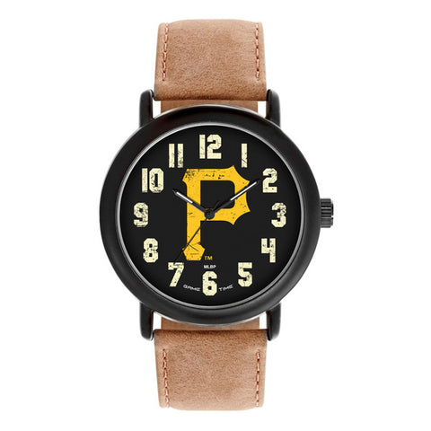 Pittsburgh Pirate Logo Mens Quartz Analog Black Round Case Brown Dark Strap 47Mm Throwback