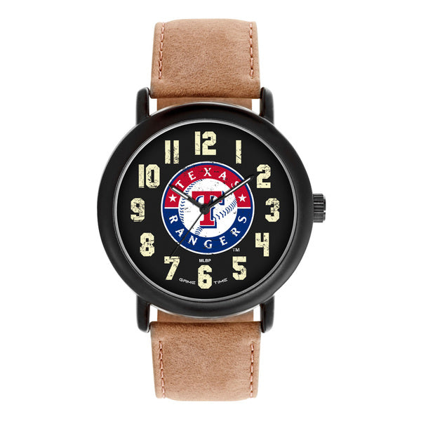 Texas Rangers Mens Quartz Analog Watch With Black Round Case Brown Dark Strap 47Mm Throwback