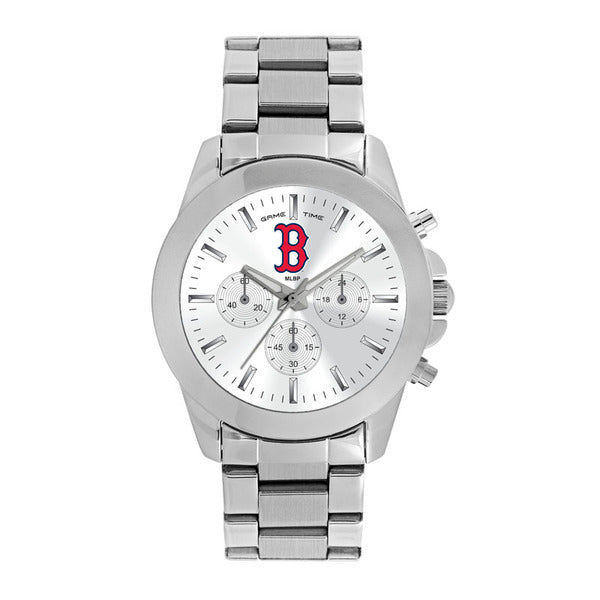 Boston Red Sox B Logo Ladies Quartz Analog Watch With Silver Round Case Silver Bracelet 39Mm Knockout