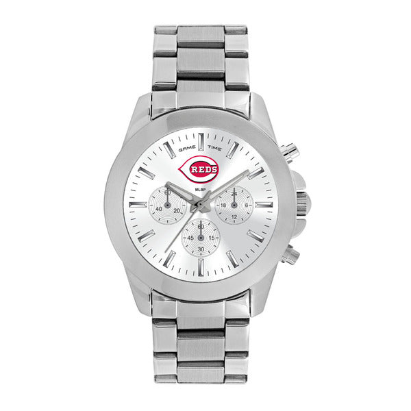 Cincinnati Reds Ladies Quartz Analog Watch With Silver Round Case Silver Bracelet 39Mm Knockout