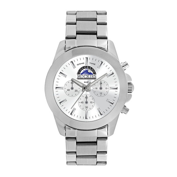 Colorado Rockies Ladies Quartz Analog Watch With Silver Round Case Silver Bracelet 39Mm Knockout