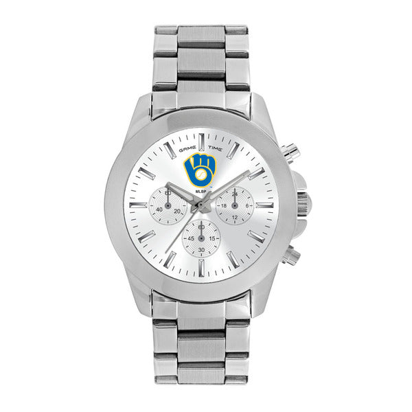Milwaukee Brewers Ladies Quartz Analog Watch With Silver Round Case Silver Bracelet 39Mm Knockout