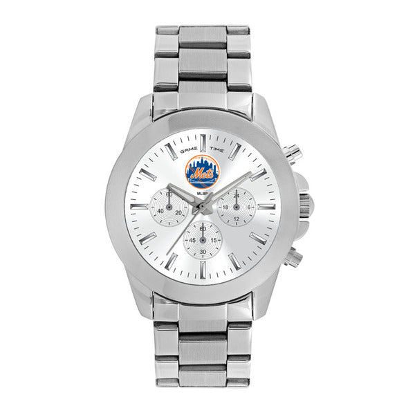 New York Mets Ladies Quartz Analog Watch With Silver Round Case Silver Bracelet 39Mm Knockout