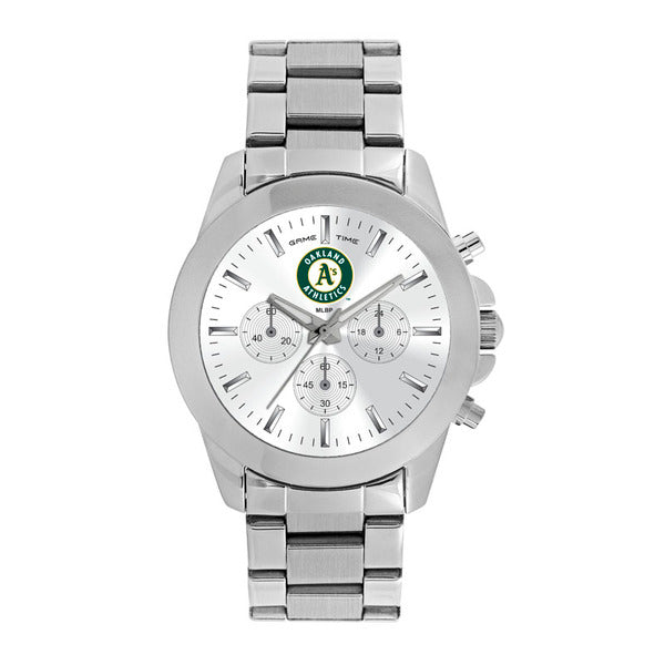 Oakland As Ladies Quartz Analog Watch With Silver Round Case Silver Bracelet 39Mm Knockout