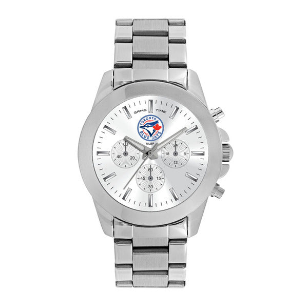 Toronto Blue Jays Ladies Quartz Analog Watch With Silver Round Case Silver Bracelet 39Mm Knockout