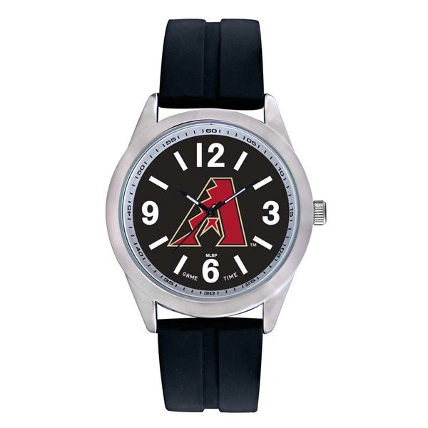 Arizona Diamondbacks Mens Quartz Analog Watch With Silver Round Case Black Strap 46.5Mm Varsity