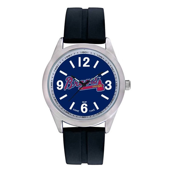 Atlanta Braves Mens Quartz Analog Watch With Silver Round Case Black Strap 46.5Mm Varsity