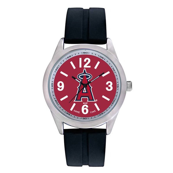 Los Angeles Angels Mens Quartz Analog Watch With Silver Round Case Black Strap 46.5Mm Varsity