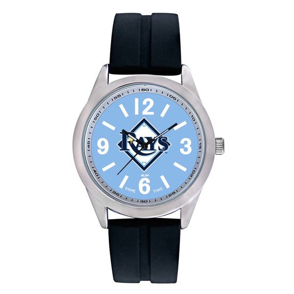 Tampa Bay Rays Mens Quartz Analog Watch With Silver Round Case Black Strap 46.5Mm Varsity