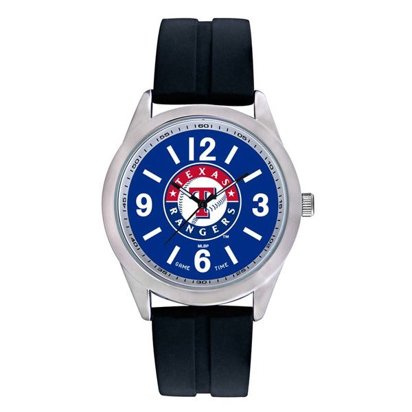 Texas Rangers Mens Quartz Analog Watch With Silver Round Case Black Strap 46.5Mm Varsity