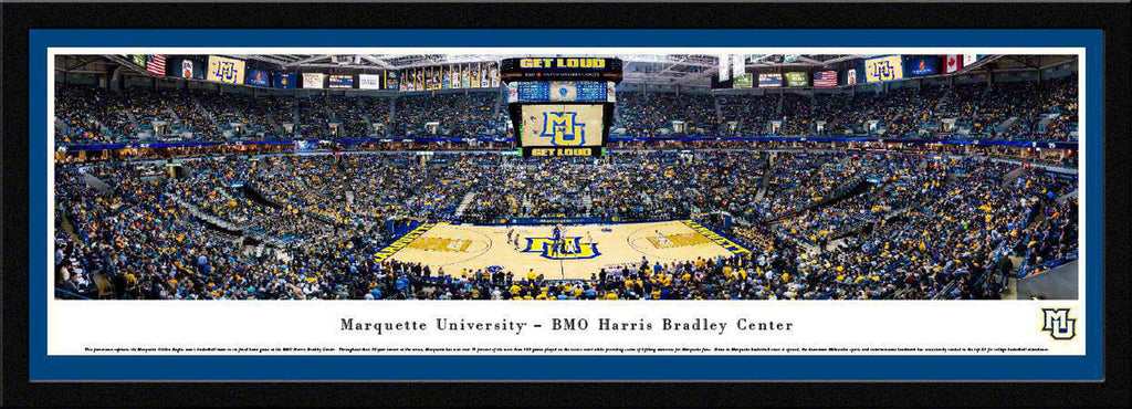 "Marquette Golden Eagles Basketball Single Mat, Select Framed Panoramic Print 15.5"" L x 42"" W"