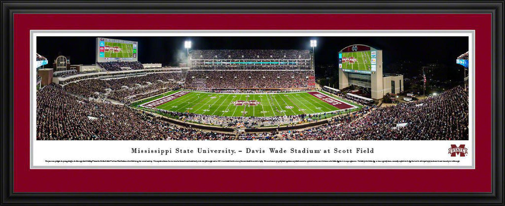"Mississippi State Bulldogs Football (Egg Bowl) Double Mat, Deluxe Framed Panoramic Print 18"" L x 44"" W"
