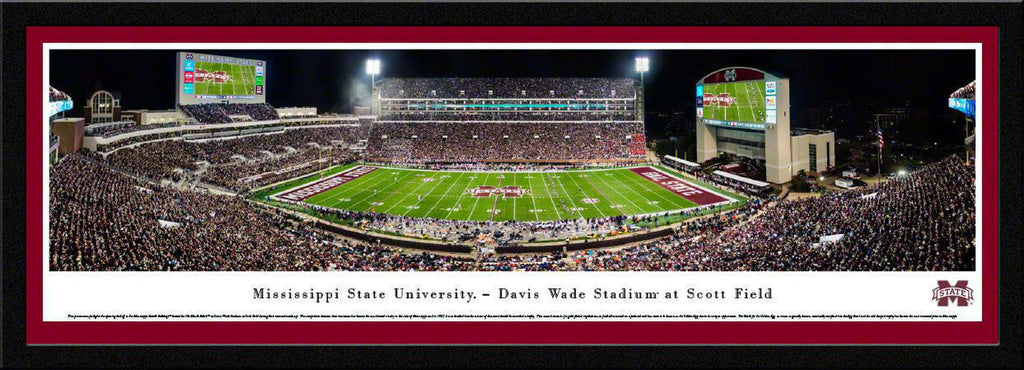 "Mississippi State Bulldogs Football (Egg Bowl) Single Mat, Select Framed Panoramic Print 15.5"" L x 42"" W"