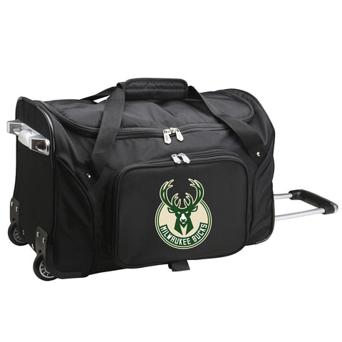 Milwaukee Bucks 22in Wheeled Duffel Nylon Bag-BLACK