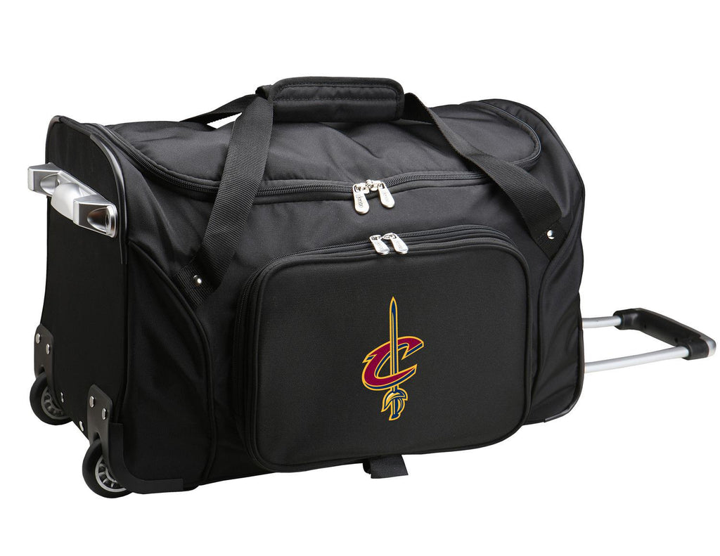 Cleveland Cavaliers 22in Wheeled Duffel Nylon Bag-BLACK