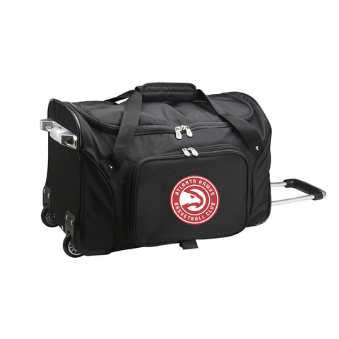 Atlanta Hawks 22in Wheeled Duffel Nylon Bag-BLACK