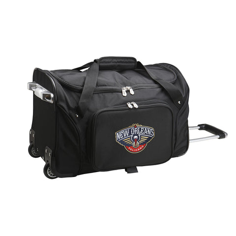 New Orleans Pelicans 22in Wheeled Duffel Nylon Bag-BLACK