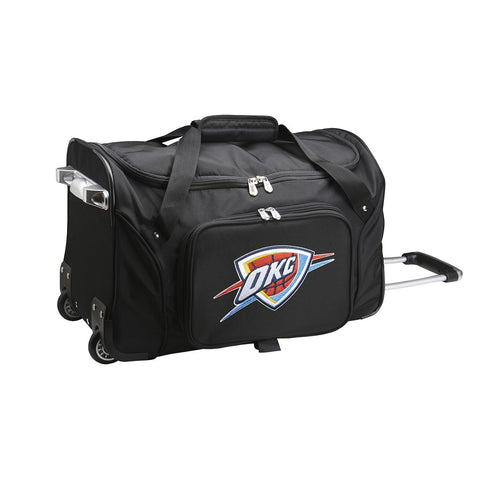 OKC Thunder 22in Wheeled Duffel Nylon Bag-BLACK