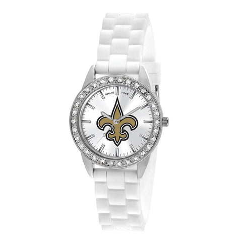 New Orlean Saints Ladies Quartz Analog Silver Round Case White Strap 38Mm Frost