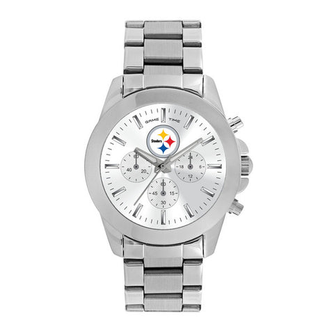 Pittsburgh Steelers Ladies Quartz Analog Silver Round Case Silver Bracelet 39Mm Knockout