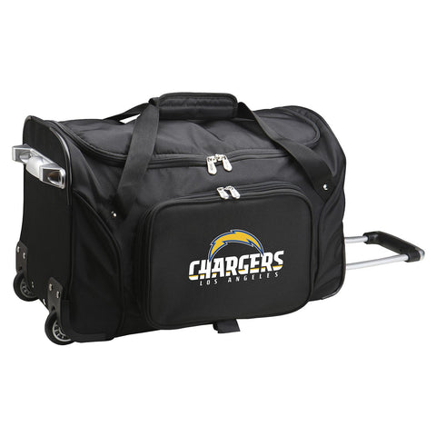 Los Angeles Chargers  22in Wheeled Duffel Nylon Bag-BLACK
